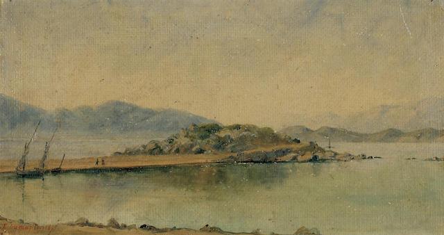Sofia Laskaridou (1882–1965) Walk along the shore 16 x 30 cm. (6 1/4 x 11 3/4 in.)