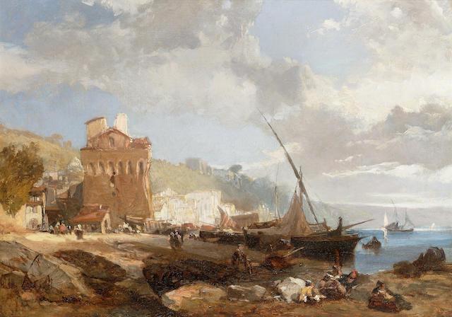 James Duffield Harding, OWS (British 1797-1863) Italianate coastal scene 38 x 53.5 cm. (15 x 21 in.)