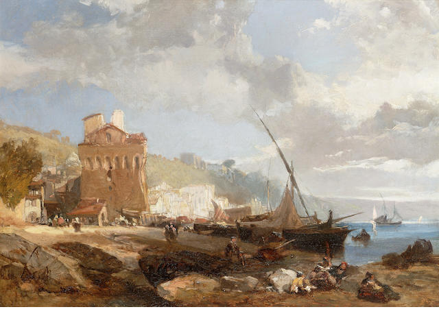 James Duffield Harding, OWS (1797-1863)   Italianate coastal scene  38 x 53.5 cm. (15 x 21 in.)
