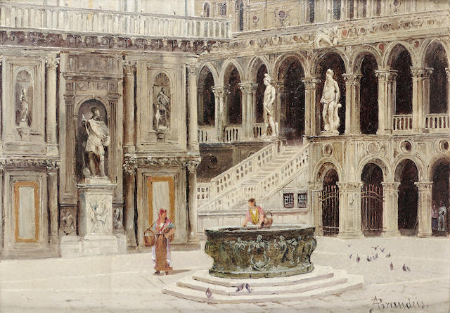 Antoinetta Brandeis (Czech 1849-1920) The court of the Ducal Palace, Venice 18 x 24 cm. (7 x 9 1/2 in.)
