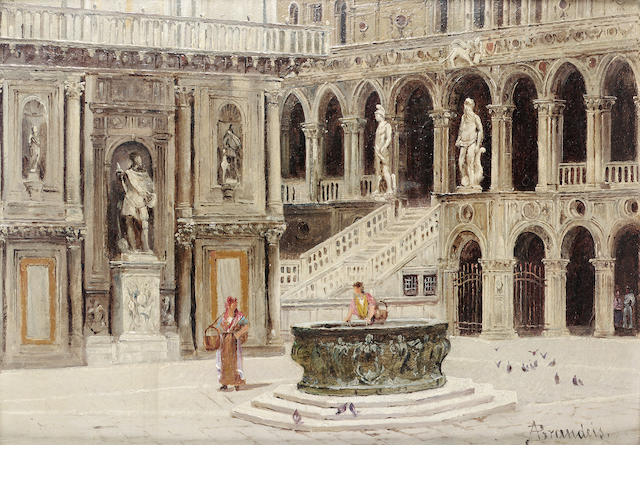 Antoinetta Brandeis (Czech 1849-1920) The court of the Ducale Palace, Venice 18 x 24 cm. (7 x 9 1/2