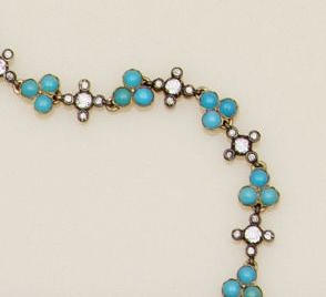 A diamond and turquoise bracelet