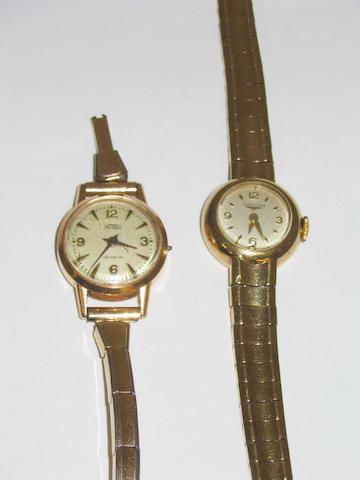 Longines: a lady's 9 carat gold wristwatch, 2