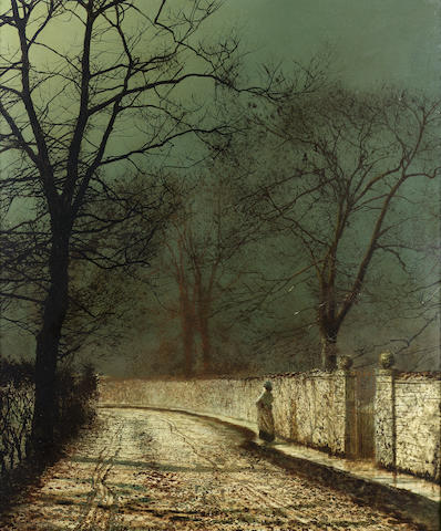 John Atkinson Grimshaw (British 1836-1893) A November night 77 x 63.5 cm. (30 1/4 x 25 in.)