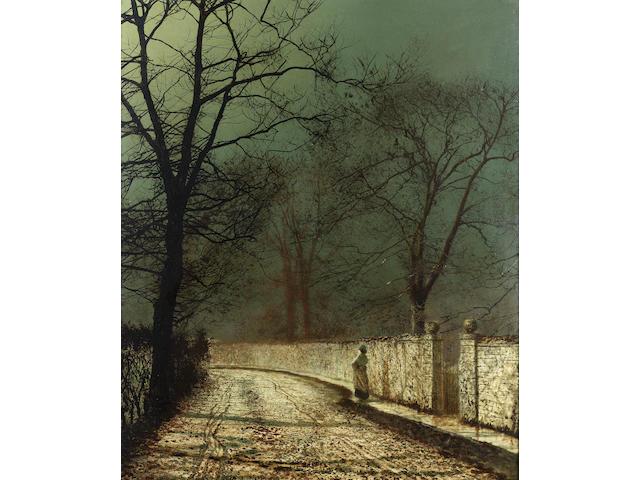 John Atkinson Grimshaw (British 1836-1893) A November night 77 x 63.5 cm. (30 1/4 x 25 in.)