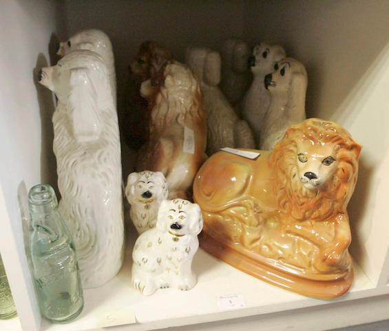 A collection of five pairs of 19th century Staffordshire pottery dogs, together with a single example