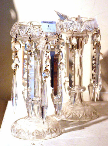 A pair of 19th century cut glass table lustres