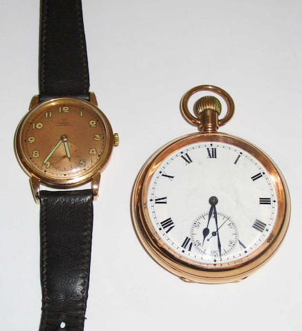 A 9 carat gold open face lever movement pocket watch, 2