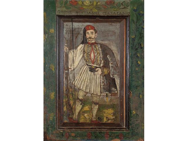 Theofilos Hatzimichail (1871–1934) The Hero Miltiadis Yiataganas 85 x 58 cm. (33 1/2 x 22 7/8 in.)