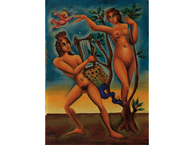 Nikos Engonopoulos (1910–1985) Apollo and Daphne 41 x 30 cm. (16 1/8 x 11 3/4 in.)