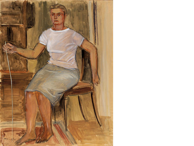 Nikos Nikolaou (1909–1986) Seated woman 73 x 59 cm. (28 3/4 x 23 1/4 in.)