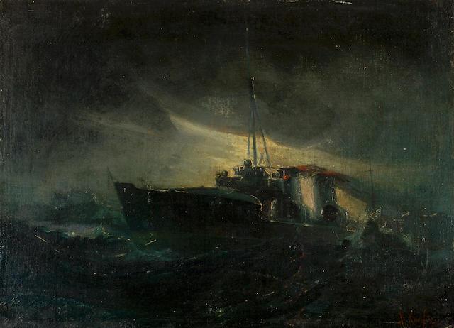 Vassilios Hantzis (1870–1915) Ships in choppy seas 36 x 48.5 cm. (14 1/8 x 19 in.)