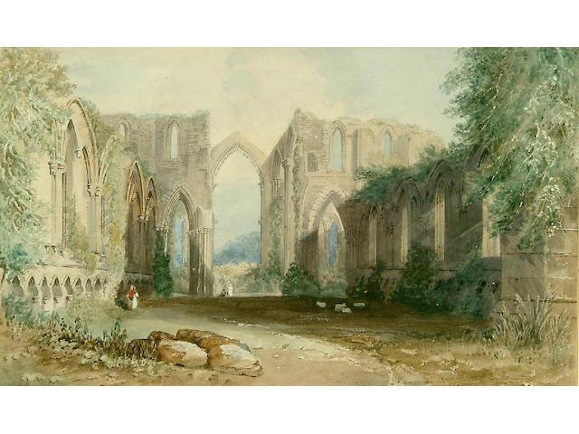 John Wilson Carmichael (1799-1868) A view of Bolton Abbey 27 x 44cm.