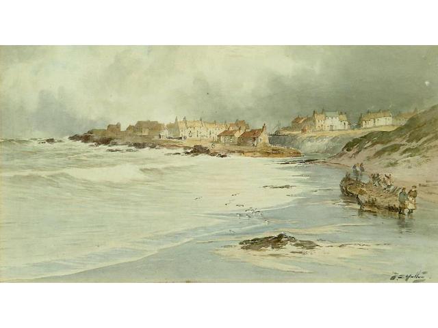 Thomas Swift Hutton (Circa 1865-1935) 'Seaton Sluice' 23.5 x 43cm.