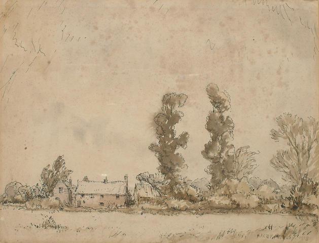Harry Morley (British, 1881-1943) Landscape with cottage 23 x 30cm (9 x 11 3/4in)