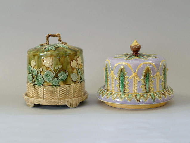 A Majolica cheese dish and cover