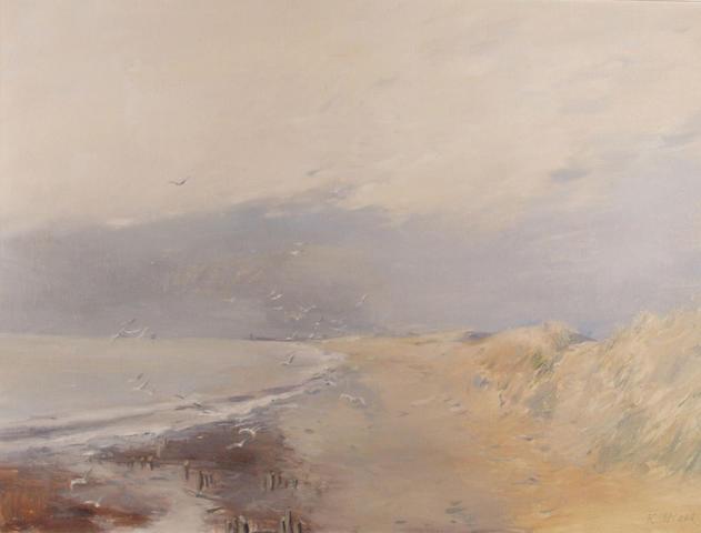 R Maes, 19th Century, Dutch Coastal Seascape in a gilt frame, 79cm x 59cm.