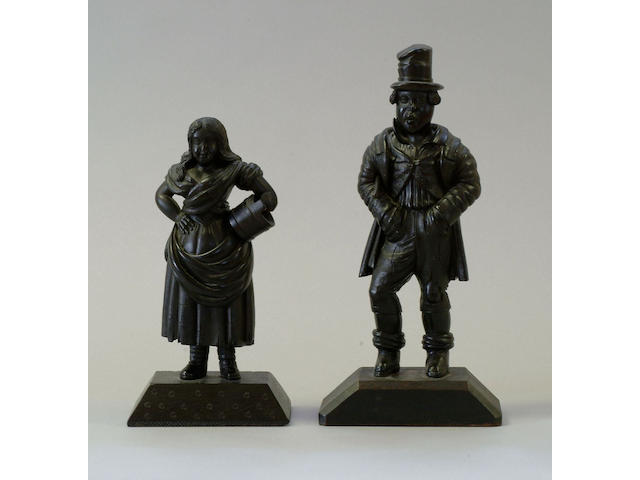 Two 19th Century carved figures of a man and woman,