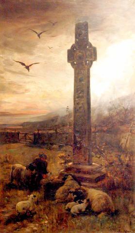 Joseph Denovan Adam (19/20thc) A shepherd and flock sheltering in the lee of a Celtic cross 120 x 70cm