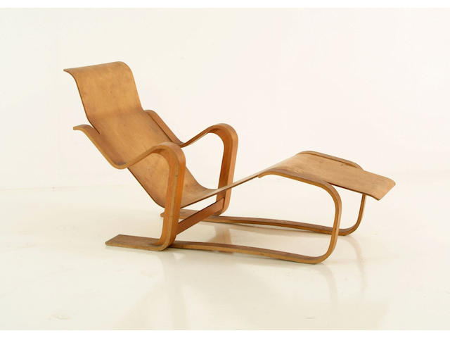A laminated plywood chaise longue after a design by Marcel Breuer