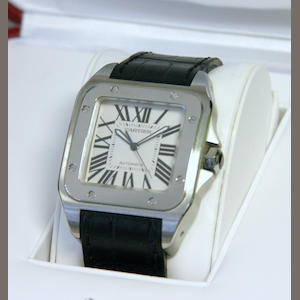 Cartier. An oversize stainless steel automatic wristwatch with box and papers Santos 100, sold on December 30, 2004