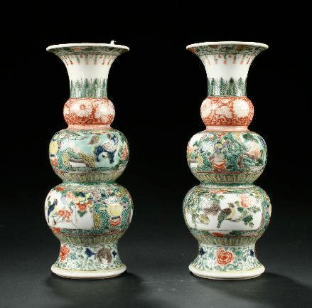 A pair of Chinese famille verte vases 20th century