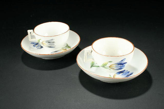 Eight Meissen teacups and saucers circa 1810