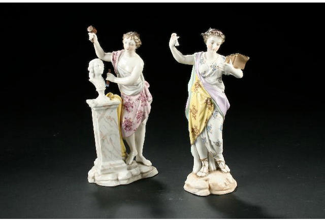 Five German figures of muses late 19th century