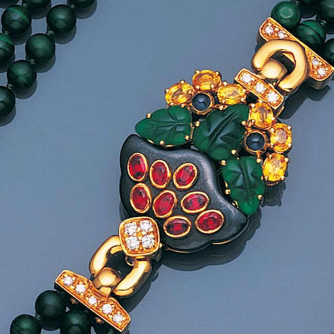 A malachite bead and gem-set necklace,