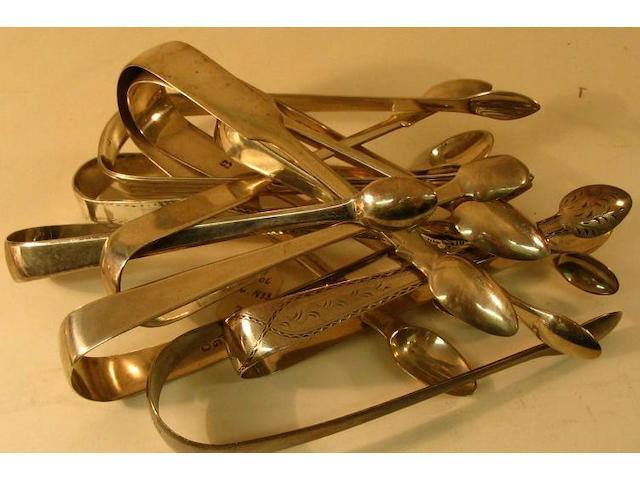 A collection of antique sugar tongs, various makers and dates,