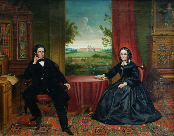 J Simpson (19th Century) 'Portrait of John Henry Hakewill and his wife, seated in their library, their stable block visible through the window' 71 x 91cm