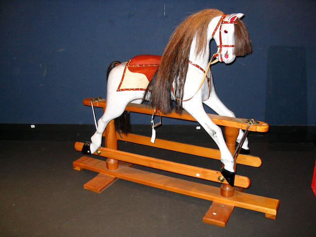 Carved wooden Rocking horse, English modern