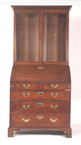 A 19th Century oak bureau bookcase