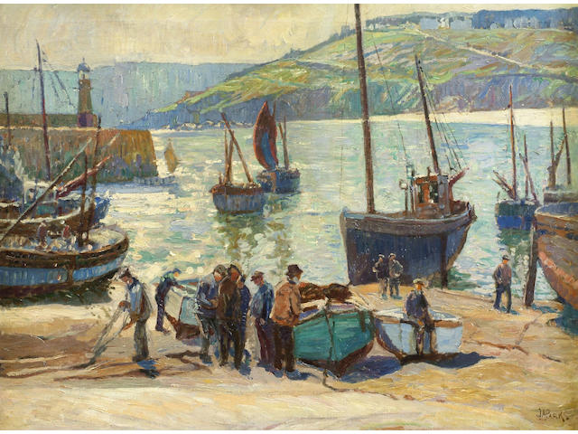 John Anthony Park (1880-1962) 'Fishermen and their boats in the harbour at St Ives' 72 x 92cm
