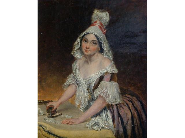 Thomas Harrington Wilson (19th Century) 'The ironing maid', signed, oil on canvas 38 x 30cm
