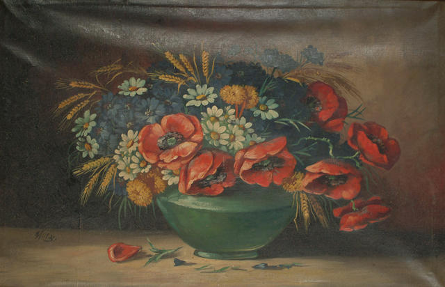 Continental School 20th Century A still life of poppies, daisies and other flowers and wheat ears in a green bowl, 37.7 x 58cm (14 7/8 x 22 7/8in)