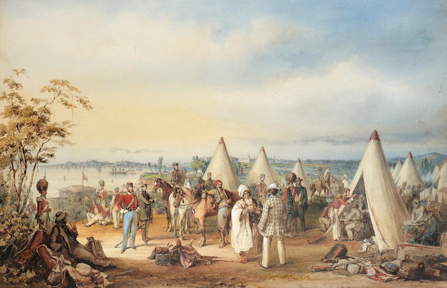 Vittorio Amadeo, 5th Count Preziosi (Maltese, 1816-1882) The British army at Scutari, 1854 71.1 x 96.5 cm. (28 x 38 in.)