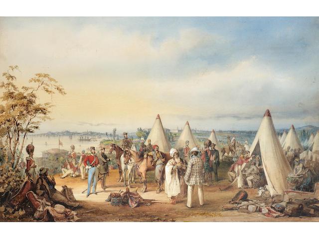 Vittorio Amadeo, 5th Count Preziosi (Maltese, 1816-1882) The British army at Scutari, 1854 71.1 x 96.5 cm. (28 x 38 in.)