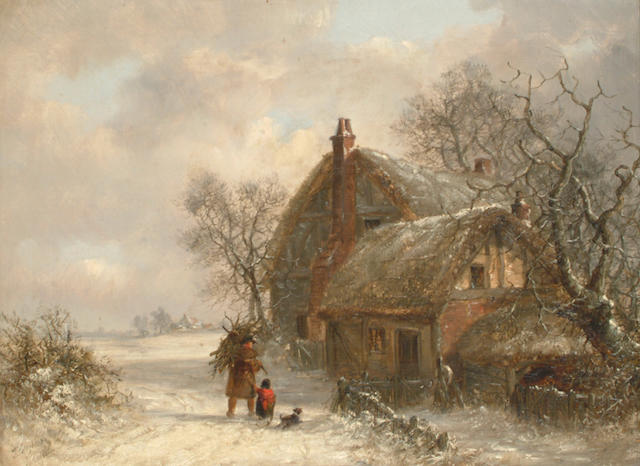 Thomas Smythe of Ipswich (British, 1825-1906) Figures in winter landscapes, each 30.5 x40.5cm (12 x 16in) (2)