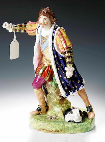A Derby figure of the actor David Garrick as Richard III,