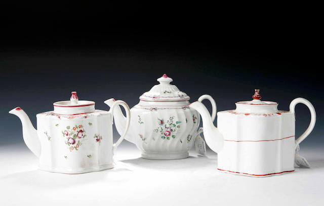 Three Newhall teapots, circa 1800,