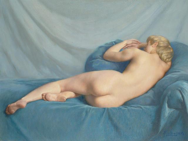 Paul Sieffert (French, 1874-1957) Reclining nude on blue velvet, 46 x 61cm (18 x 24in)