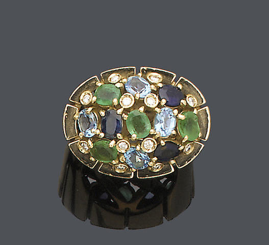 A diamond and multi gem-set dress ring