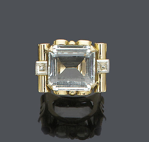An aquamarine and diamond cocktail ring,