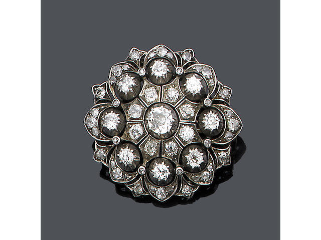 A late 19th century diamond cluster brooch,