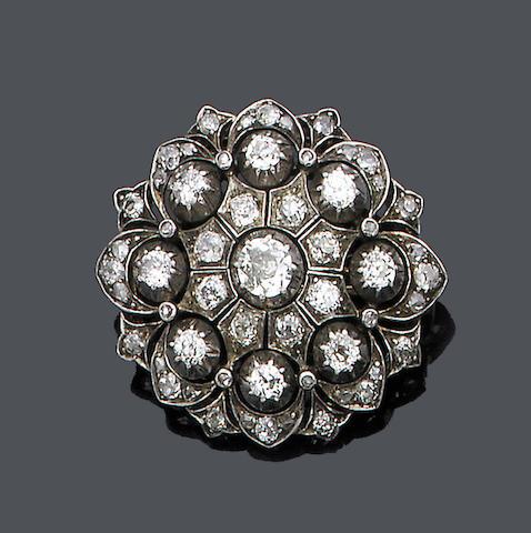 A late 19th century diamond cluster brooch,