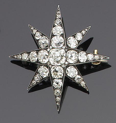 A late 19th century diamond star brooch,