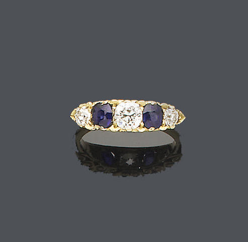 A late Victorian sapphire and diamond five-stone ring,