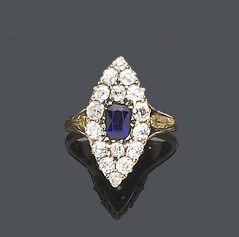 A late Victorian sapphire and diamond cluster ring,
