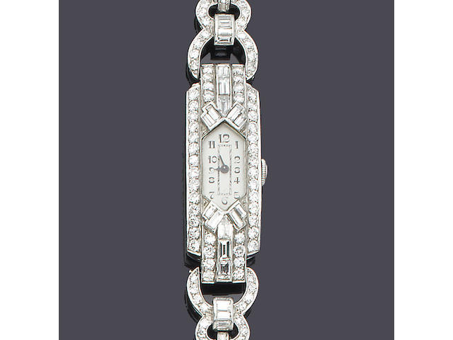 An art deco lady's diamond-set wristwatch,